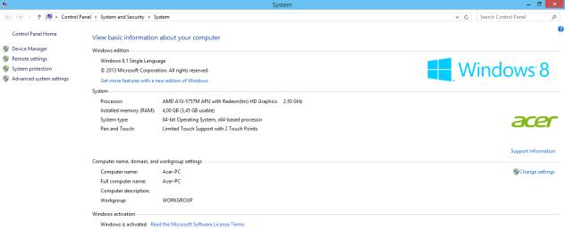 Info Sistem Acer Aspire V5